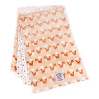 So Soft Organic Cotton Flannel Burp Pads (set of 2): Foxes Coral; approx. 8