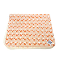 So Soft Organic Diaper Change Pad: Foxes Coral; flannel top quilted to layer of organic needled batting; waterproof backing.  Great for diaper changes on the go or at home providing baby with a soft, warm surface for their back.