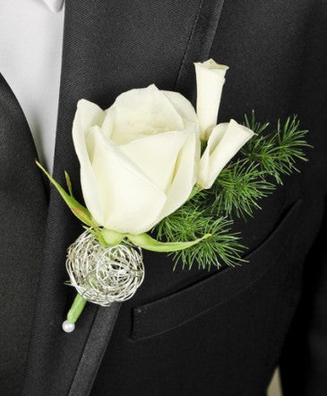 Single White Rose and Petals Boutonniere