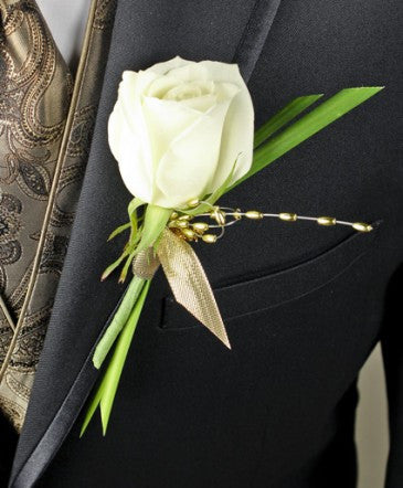 Single White Rose Boutonniere
