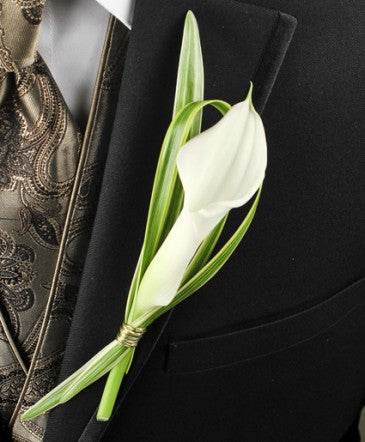 White Calla Lily and Lily Grass Boutonniere