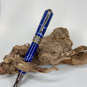 Premium Black Titanium fountain or rollerball pen with a blue and white body