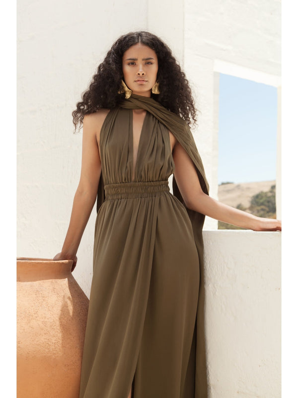 Sustainable Mailys Dress Olive - diarrablu