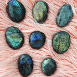 Labradorite Palm Stone Blue Green Orange