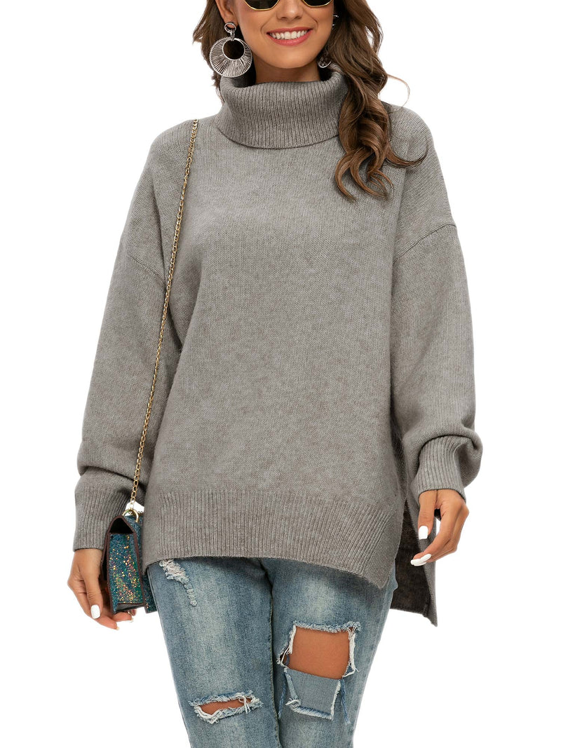 Pulllover Side Slit Turtle Neck Sweater
