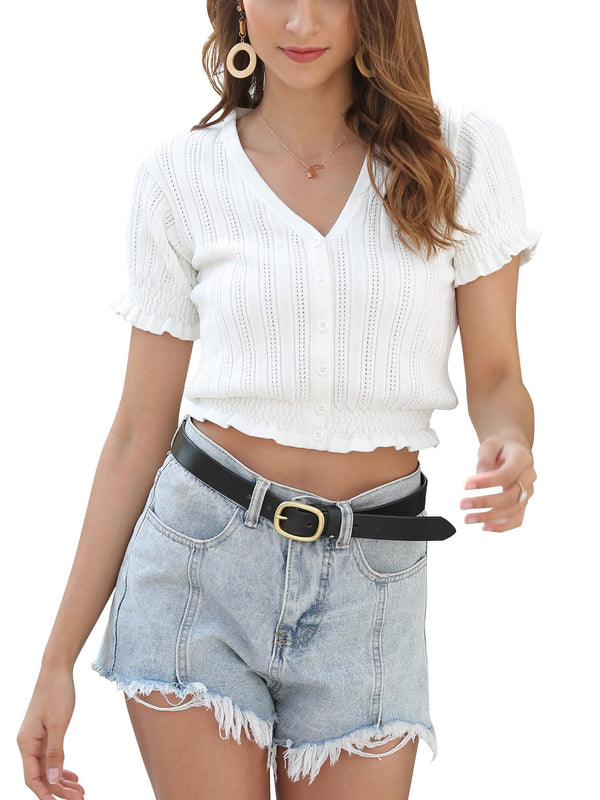 Women's V Neck Crop Tops Short Sleeve