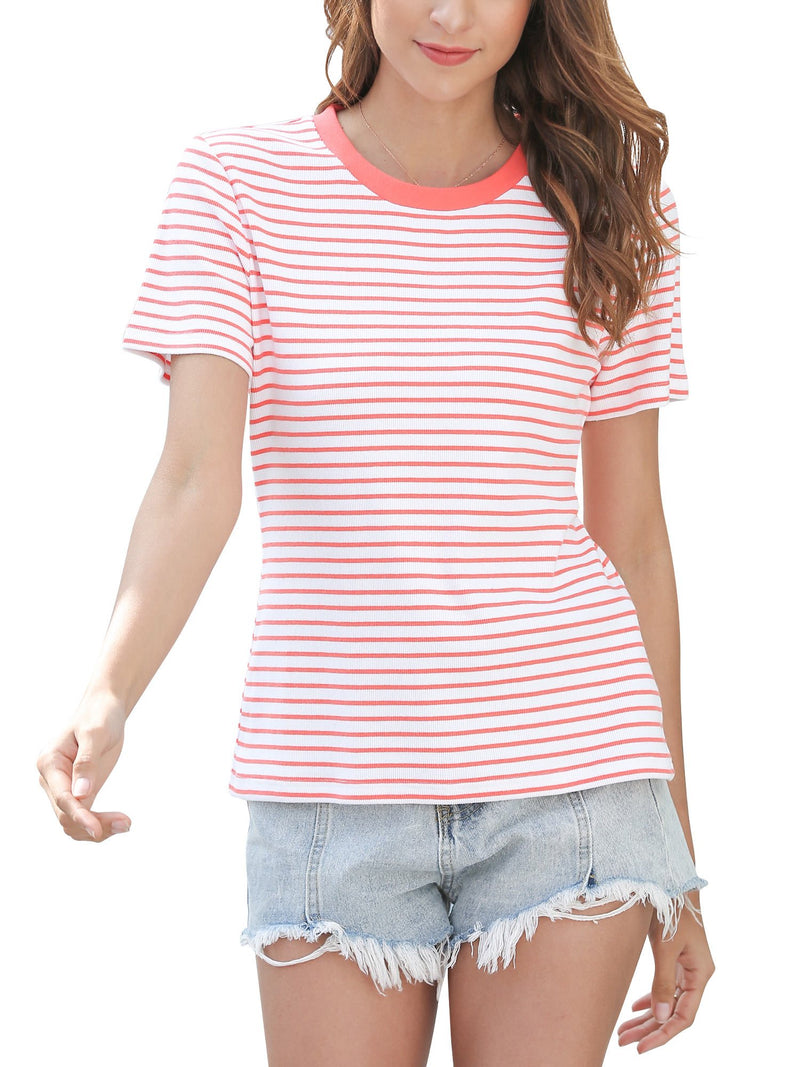 Women Short Sleeve Top T Shirt Crew Neck Cotton Tee