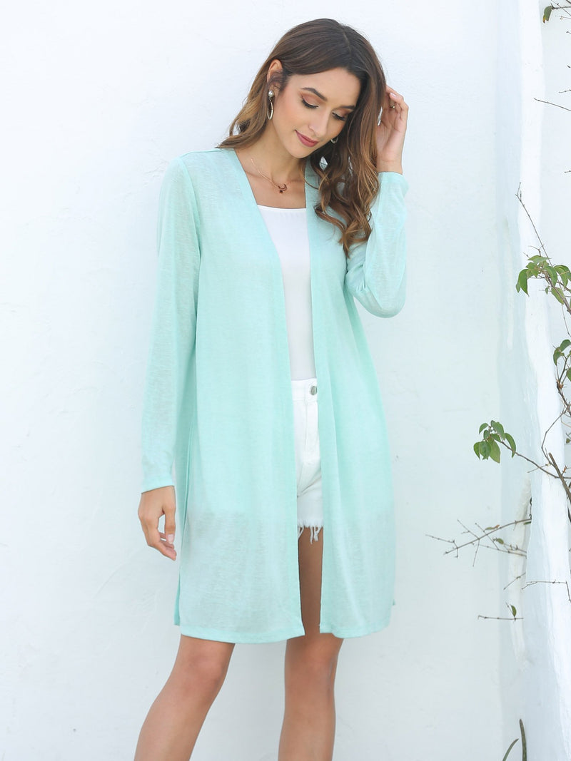 Open Front Longline Thin Cardigan