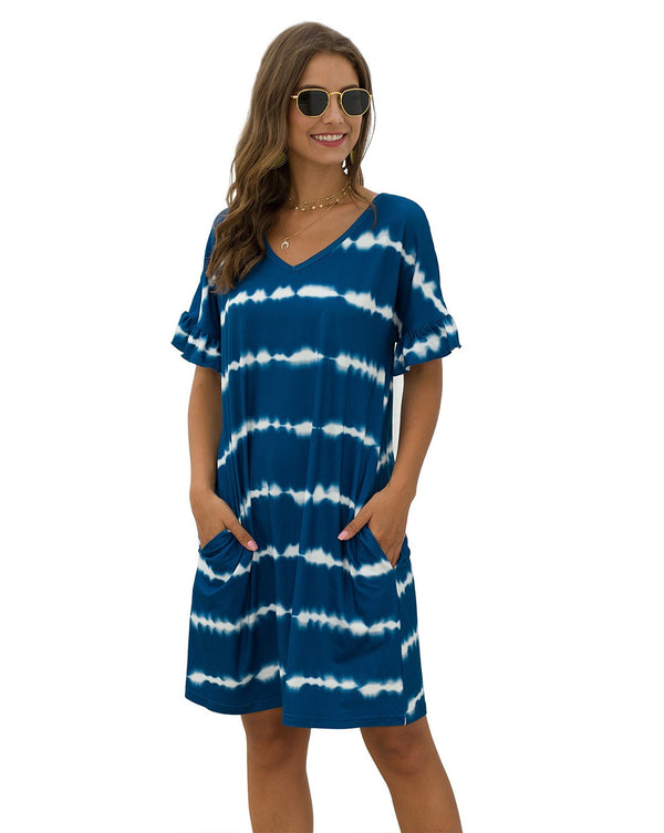 Women's Striped Tie Dye V Neck T-Shirt Dress with Pockets