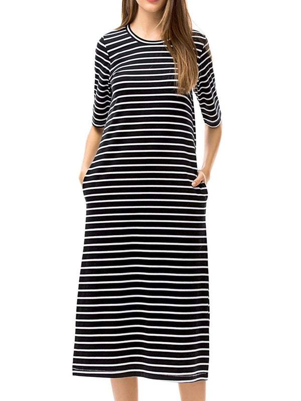 Striped Casual T-Shirt Dress
