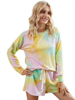 Women's Pajamas Tie Dye Print Long Sleeve PJ Sleepwear Set