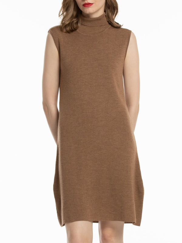 Woolicity Turtleneck Sleeveless Merino Wool Sweater Dress