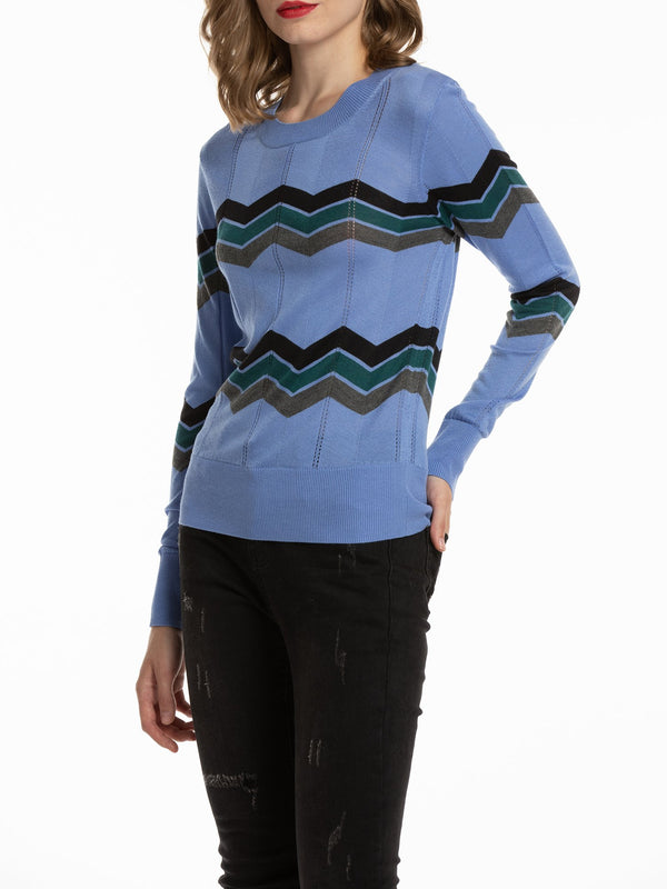 Women's Pullover Zigzag Striped Sweater