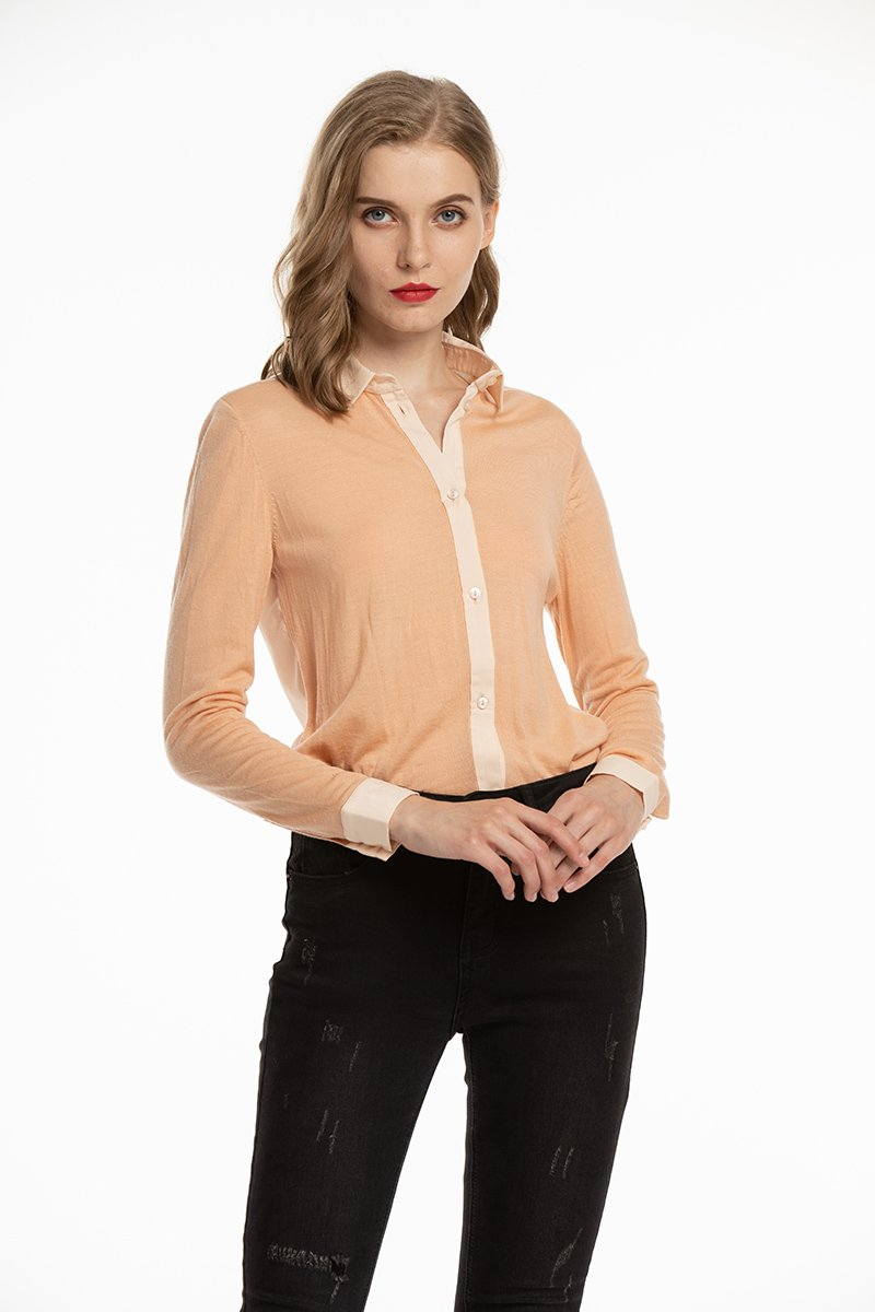 Woolen Bloom Women's Button Down Blouse Wool Long Sleeve Casual Office Work Blouse Shirts Tops