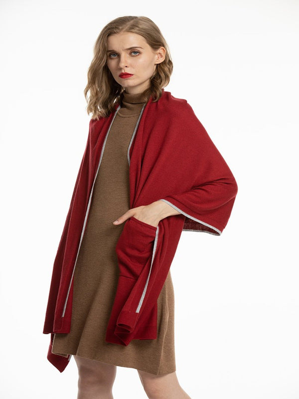 Women's Soft Knit Shawls with pockets Wool Blanket