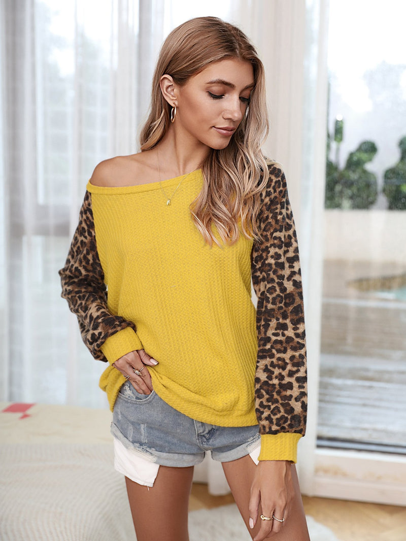 Casual Leopard Color Block Loose Pullover Tops