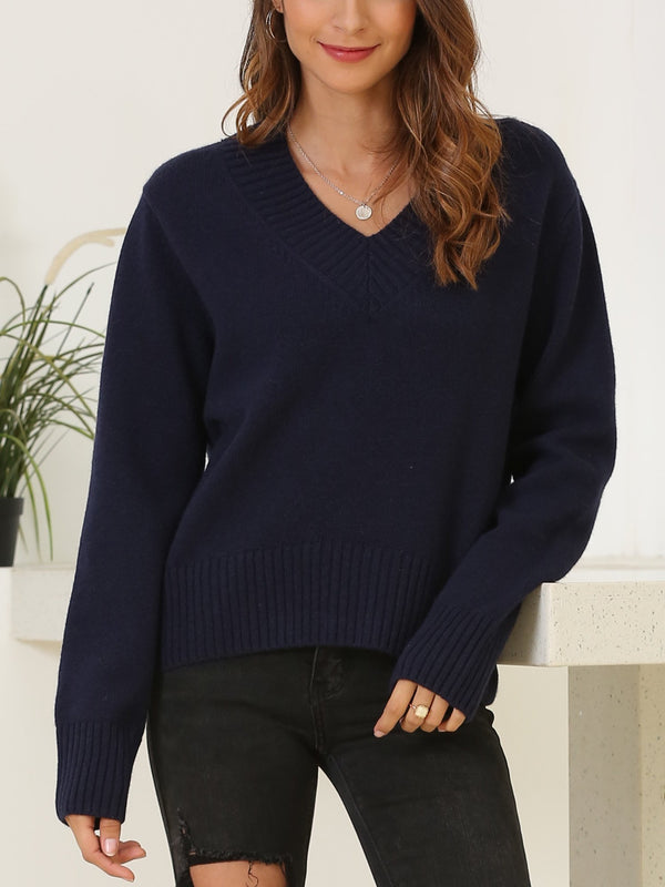 V Neck Wool Pullover Sweater