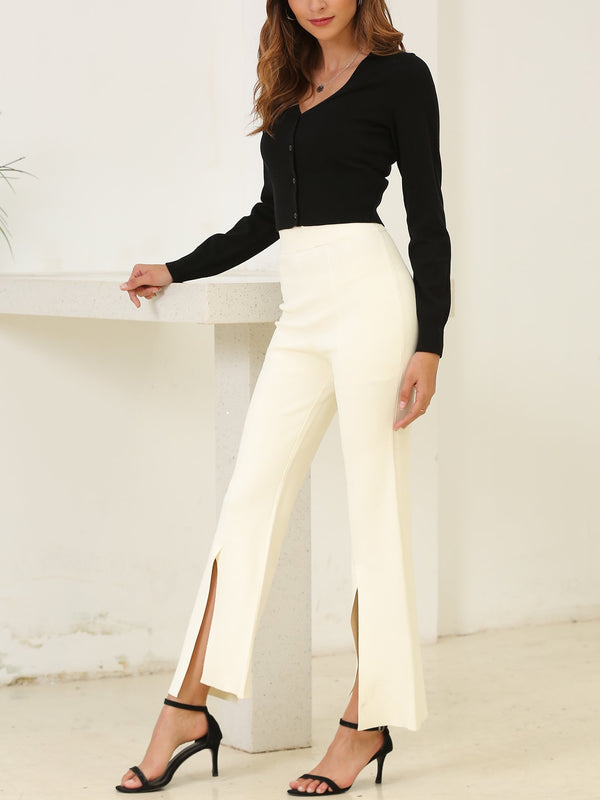Front Slit Elastic High Waist Pants