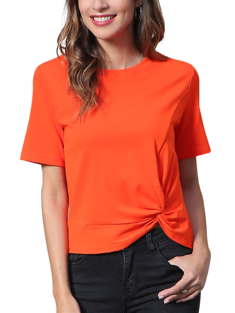 Women's Short Sleeve Twist Knot T Shirt