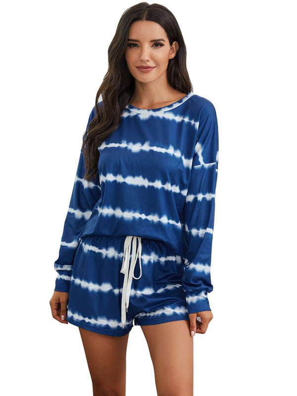 Womens Tie Dye Striped Long Sleeve 2 Piece Short Pajamas Set