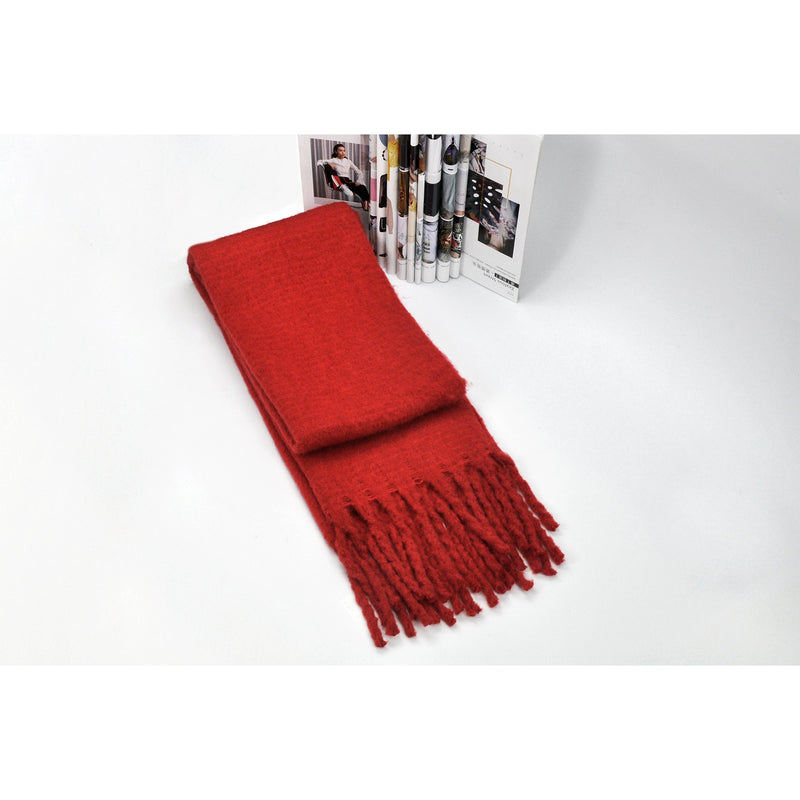 Red Fringed Shawl Wrap Scarf