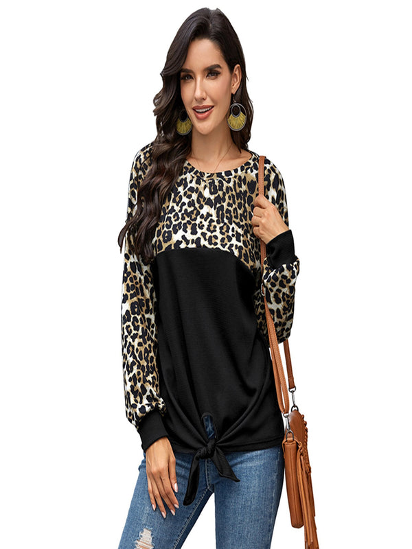 Women's Leopard Print Color Block Tie Knot T-Shirt