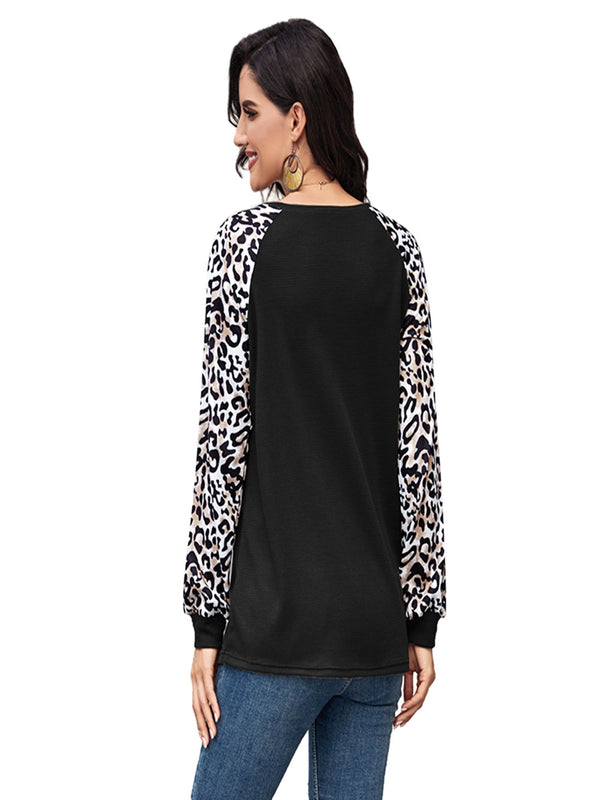 Women's Leopard Printed Long Sleeve Color Block T Shirts Tops