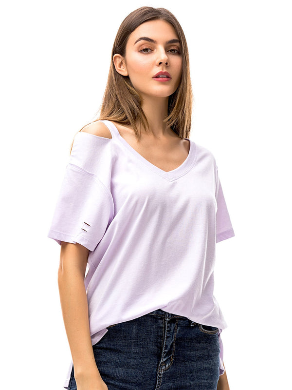 Women's V Neck T Shirts Loose Fitting Short Sleeve Cotton Cold Shoulder Casual Tops