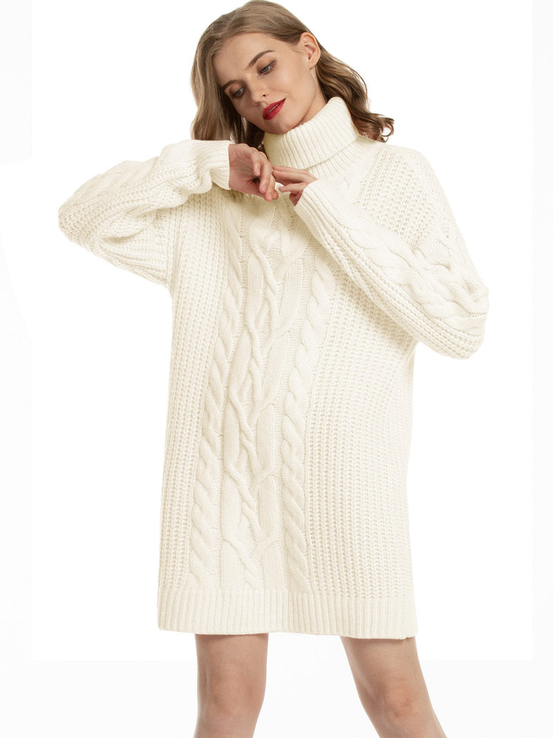 Woolicity Cable Knit Turtleneck Sweater Dress