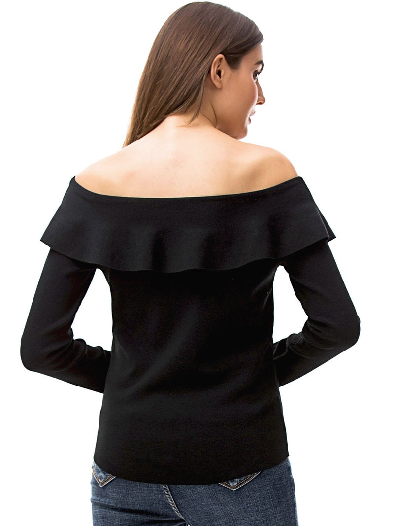 Womens Ruffle Neck Off Shoulder Shirt