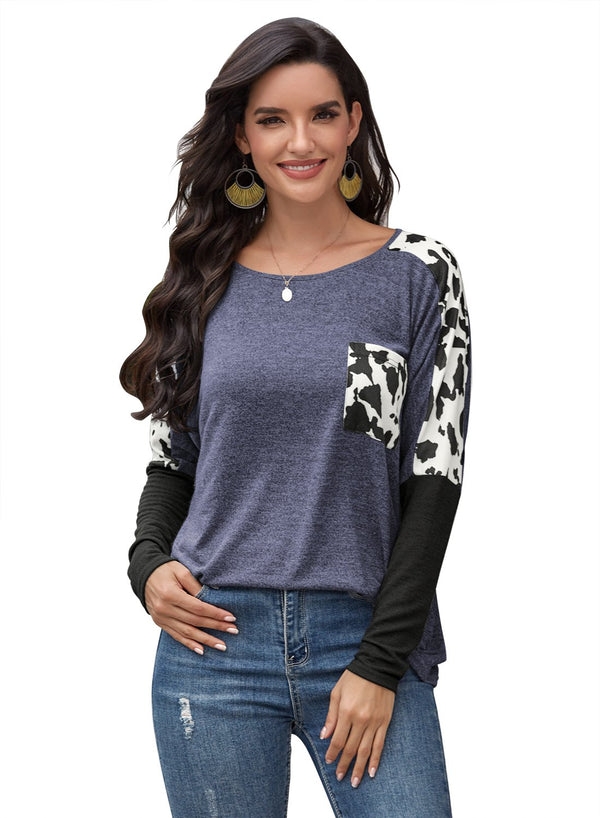Women's Leopard Print Color Block Round Neck Long Sleeve Shirts
