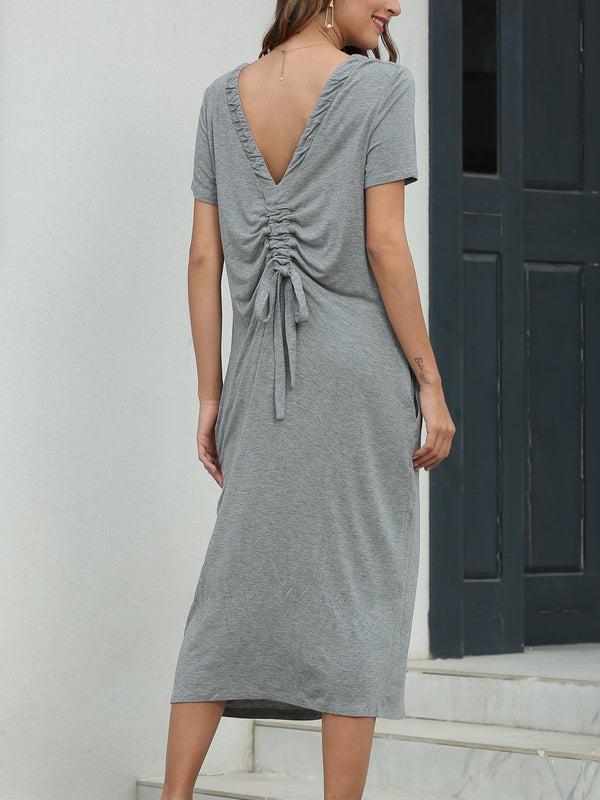 Open Back Drawstring Casual Midi Dress