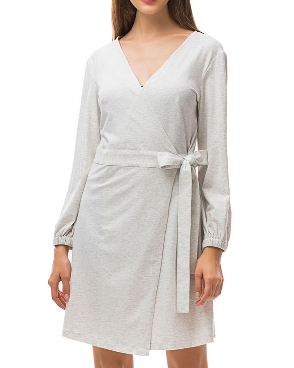 Split Sleeves V Neck Wrap Dress