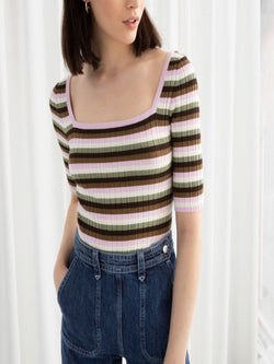 Fitted Striped Micro Knit Top