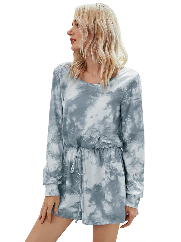 Women's Round Neck Long Sleeve Tie-dye Jumpsuits Lace-up Jumpsuit