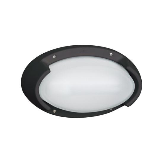 Exterior Plastic Wall Light IP54 - Arealite Klio Range 1 X 18W Fluorescent Black 265L * 160H * 110D - The Lighting Shop