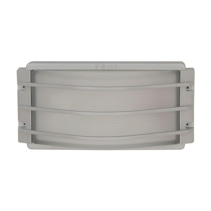 Exterior Plastic Outdoor Living Area Wall Light IP54 - Kit Series E27 Grill Silver 263L * 125D * 130H - The Lighting Shop