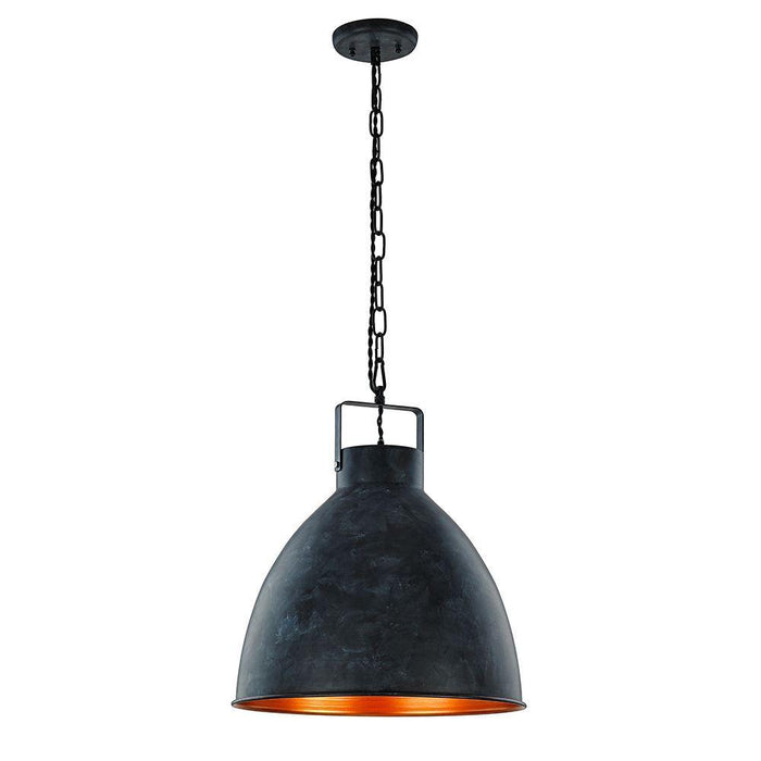 230V Frankie Pendant Industrial Ebony & Gold 400Ø * 350Hmm - The Lighting Shop