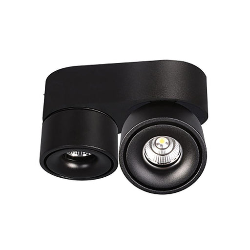Bijou - Swivel Surface Mounted Downlight - Black 3K 2 x 8W - The Lighting Shop