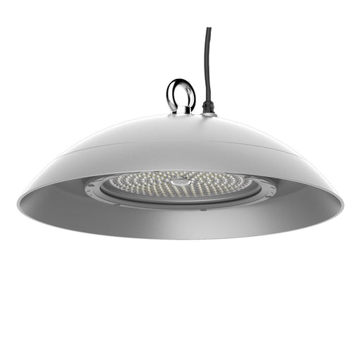 150W Suspended Clean Room Mid Or High Bay Natural White 4K Satin Silver DIA: 489mm - The Lighting Shop