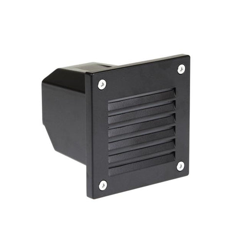 2W LED Exterior Wall Recess Louvre Square Black L96 X W96 X D110mm - The Lighting Shop