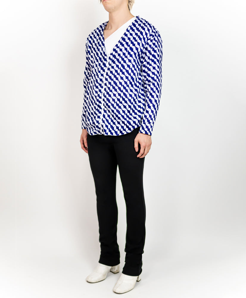 Geo Print Work Shirt Royal - M120617HYB