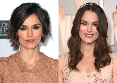 Keira Knightley Without and With a Wig