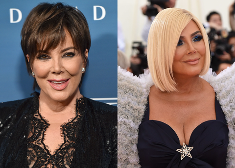 Kris Jenner Without and With a Wig