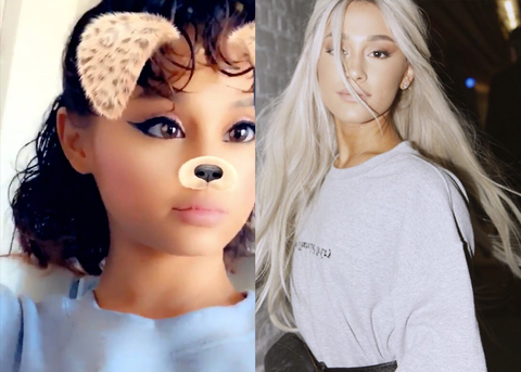 Ariana Grande Without and With a Wig