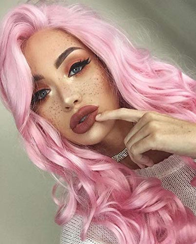 long pink lace front amazon wig