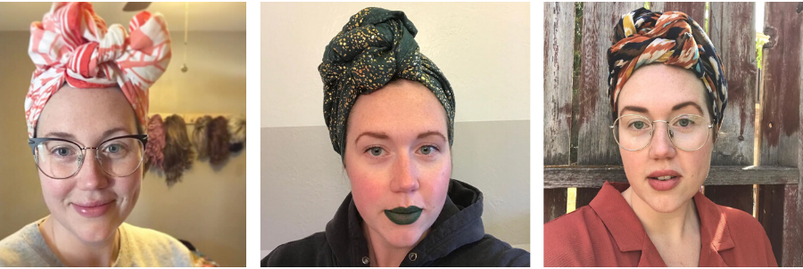 Kelli From Wiggin Out Mama Showcasing Different Ways To Wear A Headscarves