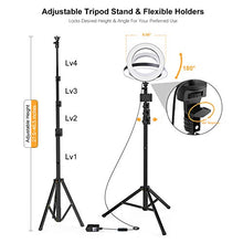 Selfie Ring Light with Tripod Stand and Phone Holder LED Circle Lights Halo Lighting for Make Up Live Steaming Photo Photography Vlogging Video