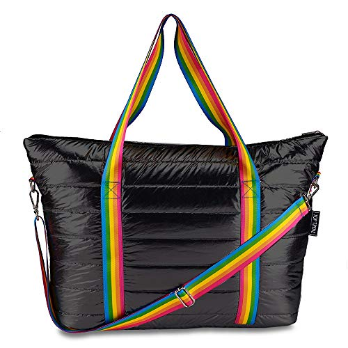 Top Trenz Puffer Tote Bag,Weekender,Overnight Bag (Black Puffer w/rainbow stripe)