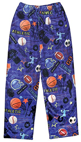 iscream Big Boys Fun Print Silky Soft Plush Pants - Play Ball, Small (6/8)